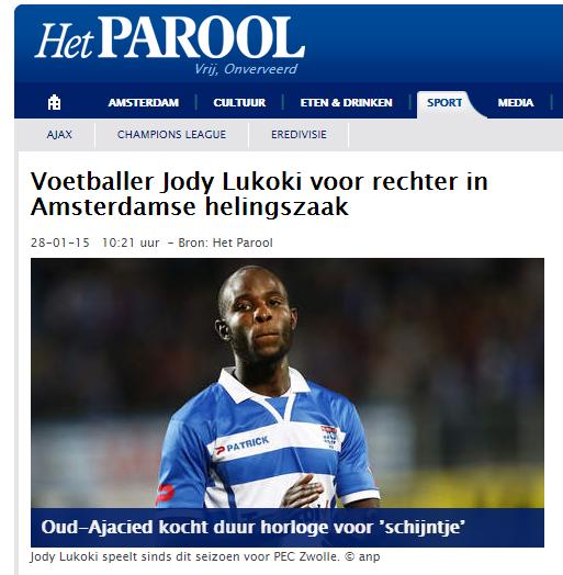 Photo of Speler Jody Lukoki van PEC Zwolle voor rechter in Amsterdamse helingszaak