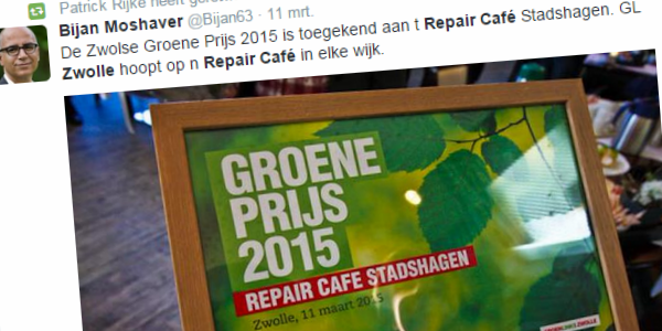 Photo of Groene Prijs 2015 voor Repair Café Stadshagen