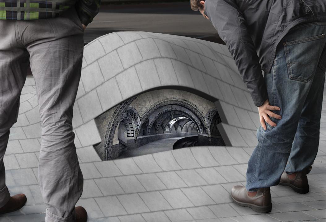 Ondergronds perron Swoll - Kunstobject wordt gesitueerd in de Stationsstraat
