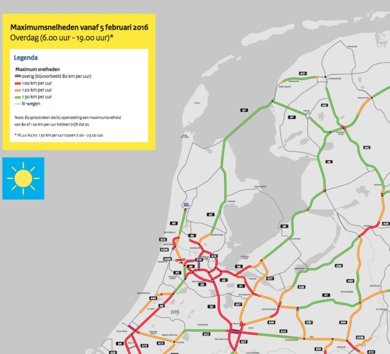 Maximum snelheid op Nederlandse wegen per 5 februari 2015