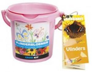 Vlindertuinzaden: Emmer met diverse zaden voor een vlindervriendelijke tuin. Met vlinderherkenningskaart.