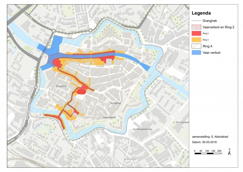 Groen Links Zwolle wil ruimte voor vreedzame manifestaties in gearceerde deel op de kaart.