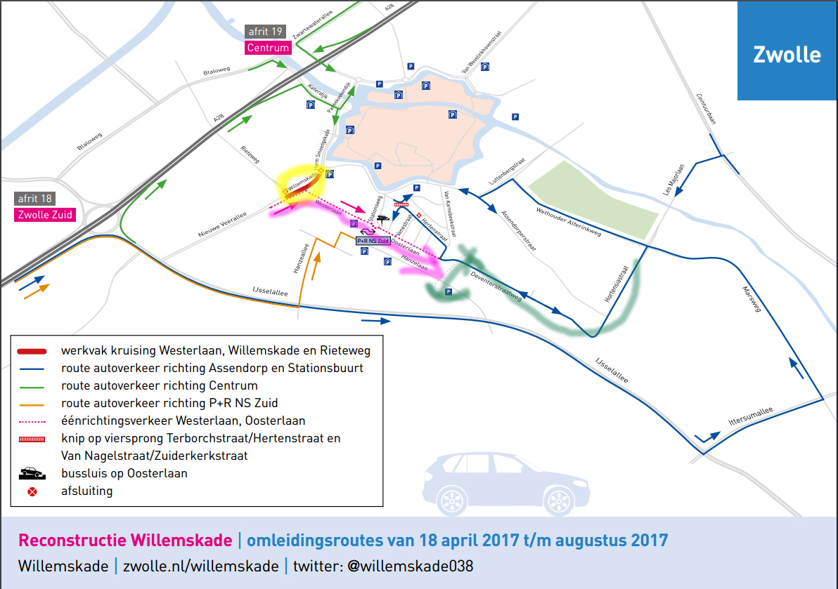 Geel gearceerd is helemaal dicht tot eind augustus. De roze pijl geeft éénrichtingsverkeer aan. De groene pijl is de Van Karnebeektunel. Hiermee kun je vanaf de Boni kant onder het spoor door.