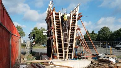 Photo of Video – Fietsbrug kruising N35-Wythmenerplas in de steigers