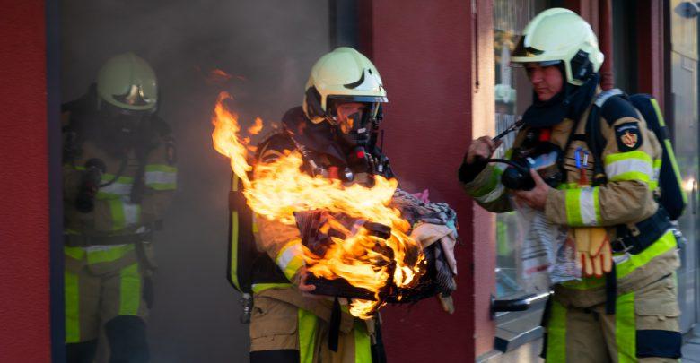 Photo of Wasmandje in brand in wasserette Het Wasmandje