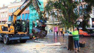 Photo of Grote kerstboom staat na uren passen en meten weer op de Grote Markt