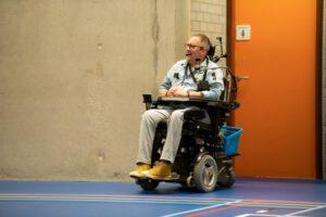 Geert Jan den Hengst in zijn rolstoel