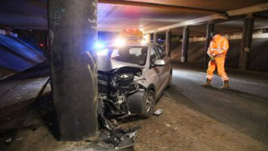 Photo of Auto ramt viaduct pijler A28