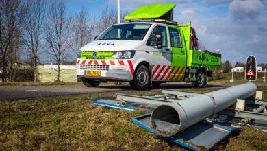 Photo of Verkeersbord waait om op Hasselterweg in Zwolle