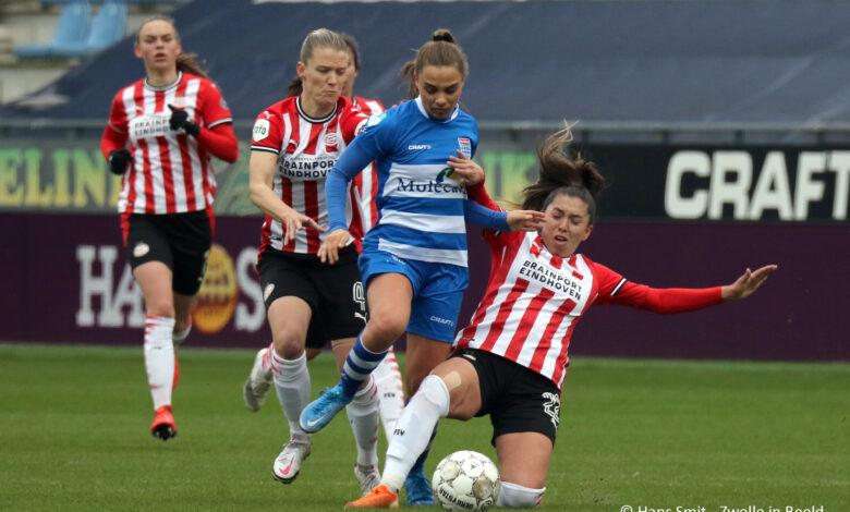 Photo of In beeld: PEC Zwolle vrouwen onderuit tegen PSV