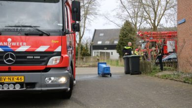 Photo of Omwonenden blussen brand papiercontainer Donker Curtiusware