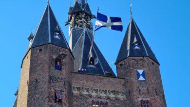Photo of 'Leve de Koning' vanaf de Sassenpoort