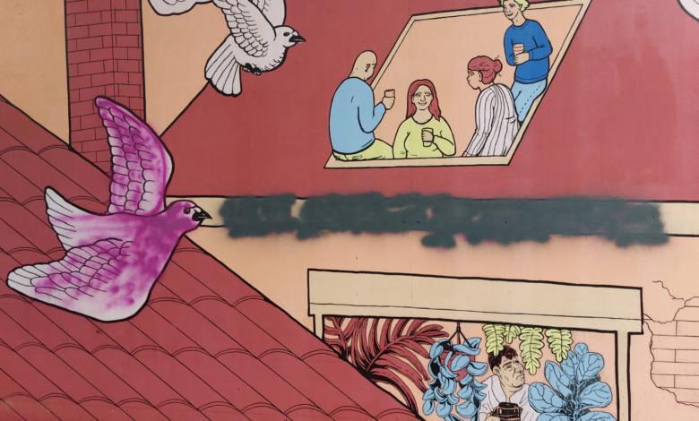 Photo of Onverlaten besmeuren muurschildering Academiehuis