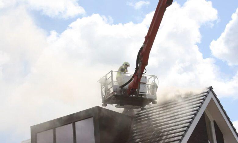 Photo of Brand op dak met zonnepanelen in Stadshagen