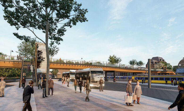 Photo of Voetgangersbrug over spoor wordt 10 meter brede en 127 meter lange leef- en beleefstraat